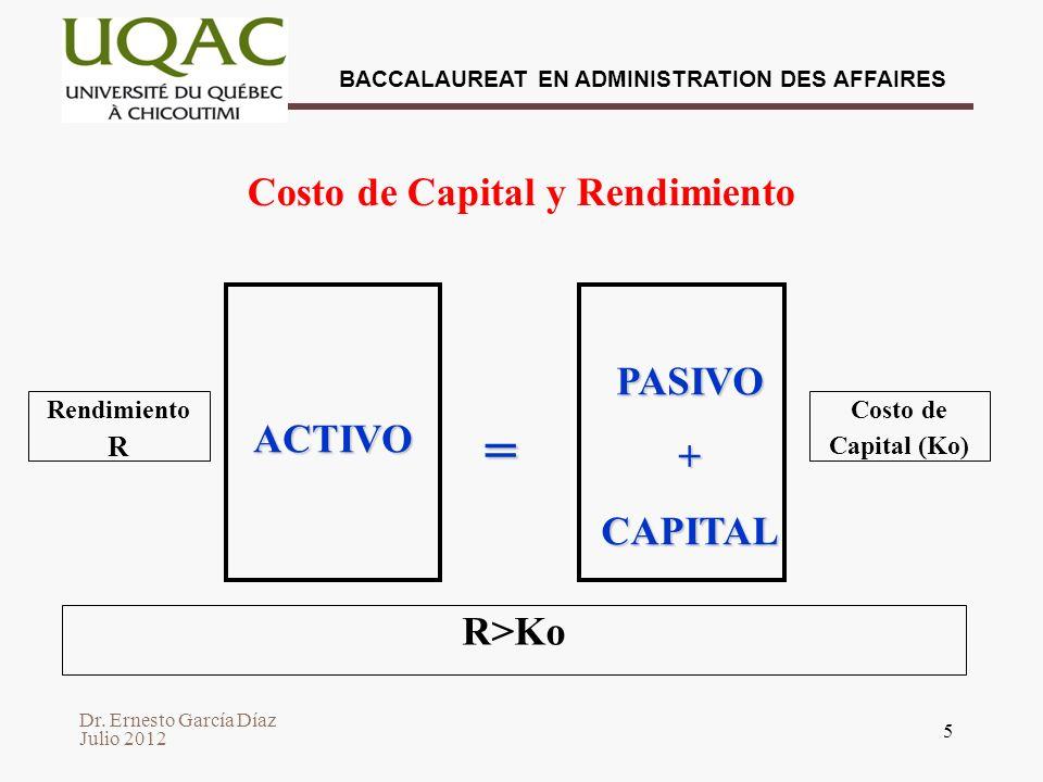 Costo de Capital y Rendimiento