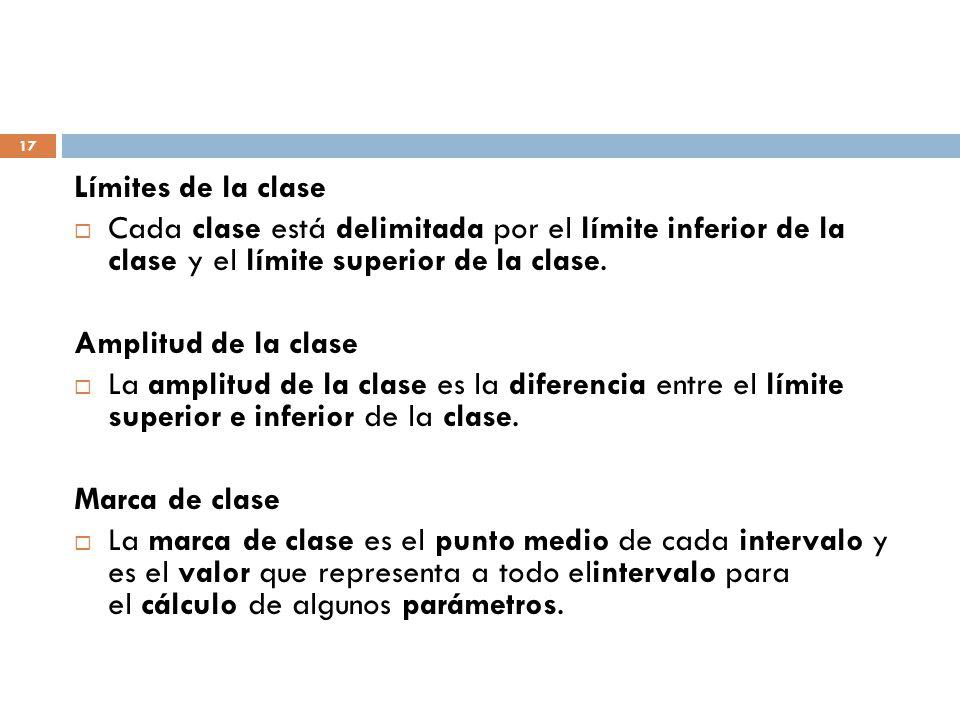 Límites de la clase Cada clase está delimitada por el límite inferior de la clase y el límite superior de la clase.
