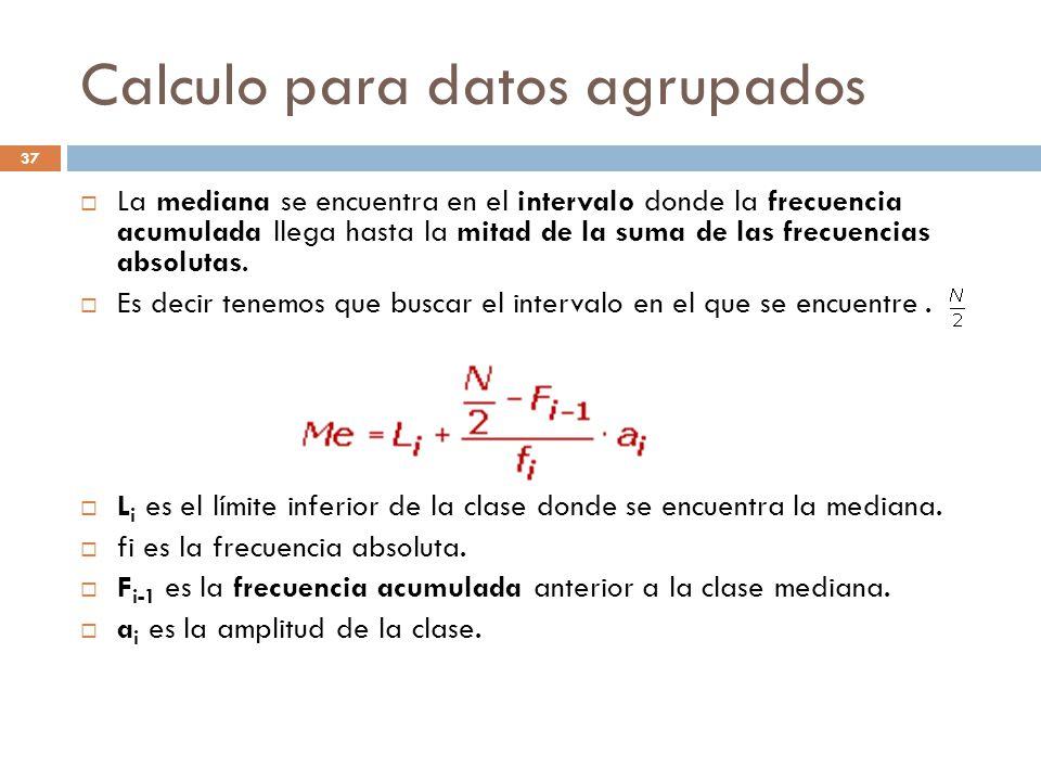 Calculo para datos agrupados