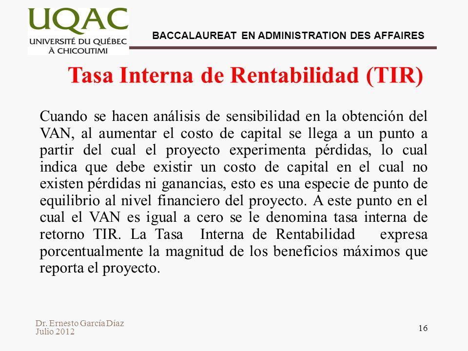 Tasa Interna de Rentabilidad (TIR)