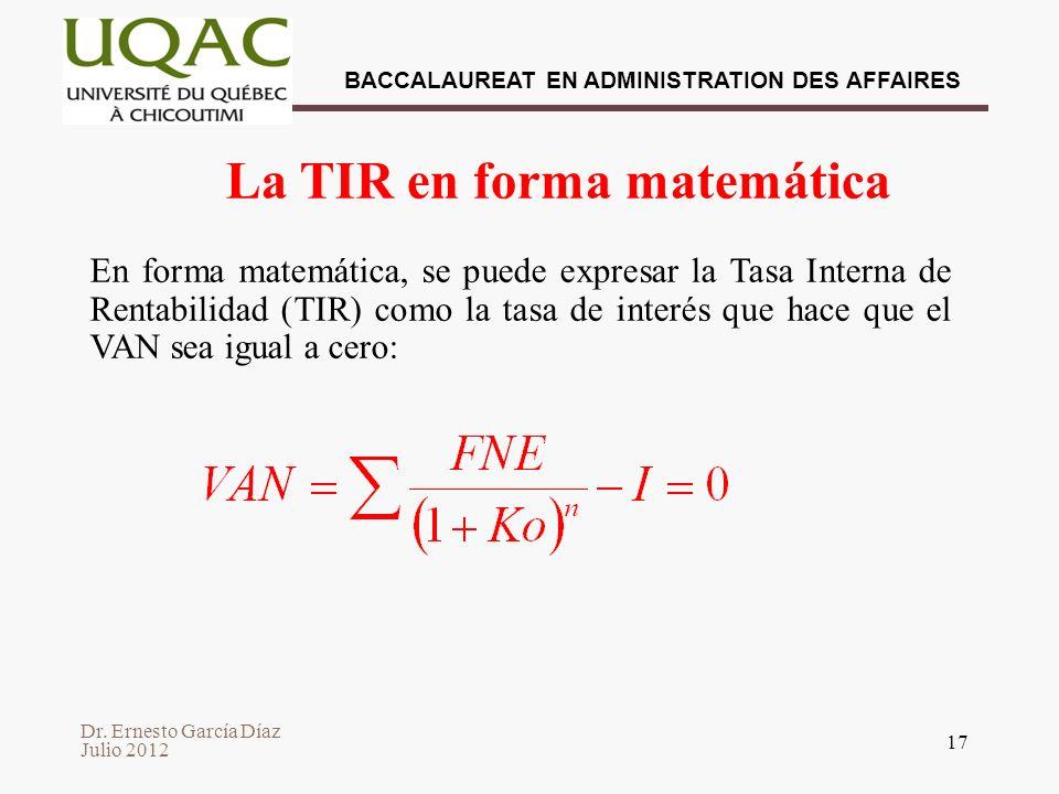 La TIR en forma matemática