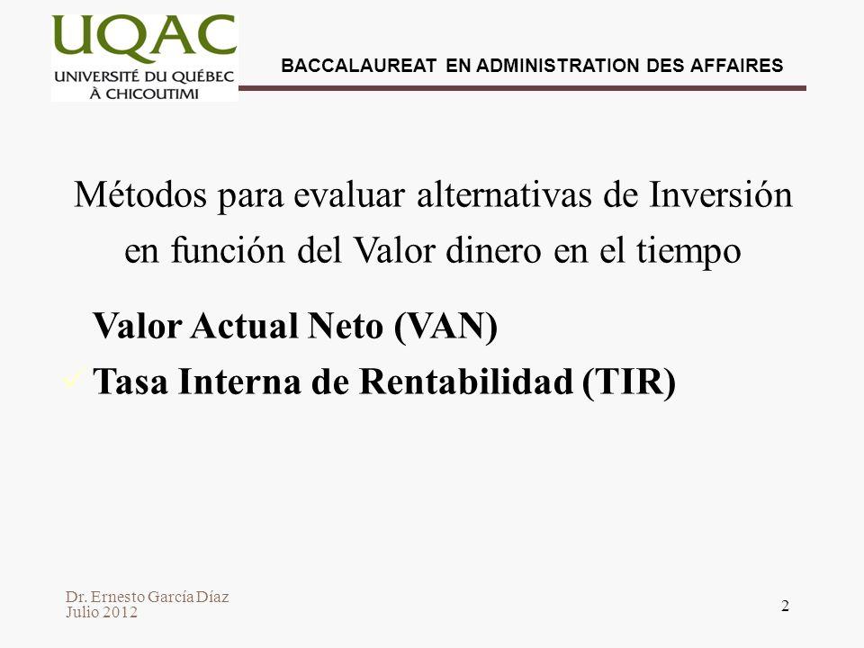 Valor Actual Neto (VAN) Tasa Interna de Rentabilidad (TIR)