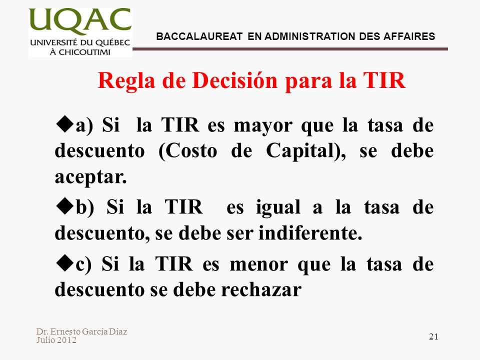 Regla de Decisión para la TIR