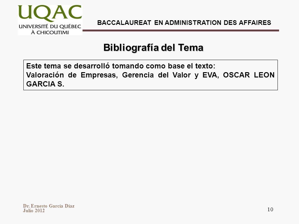 Bibliografía del Tema Este tema se desarrolló tomando como base el texto: Valoración de Empresas, Gerencia del Valor y EVA, OSCAR LEON GARCIA S.