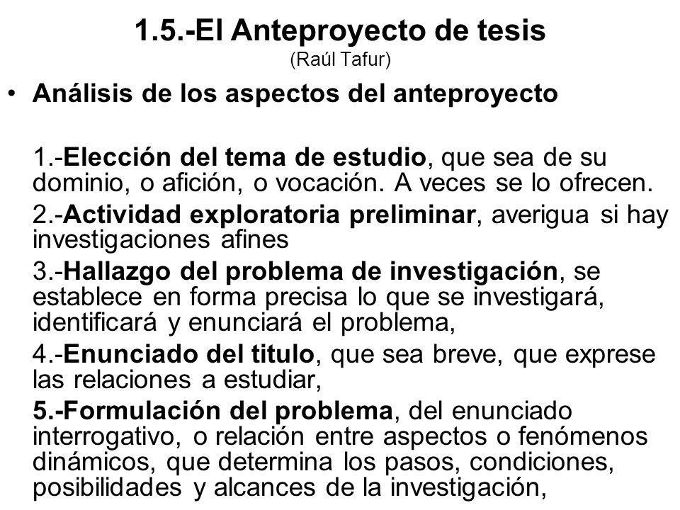 1.5.-El Anteproyecto de tesis (Raúl Tafur)