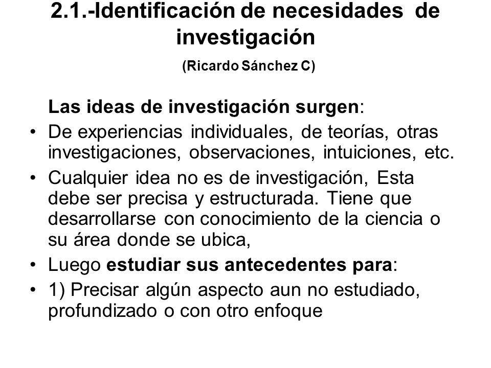 2.1.-Identificación de necesidades de investigación (Ricardo Sánchez C)