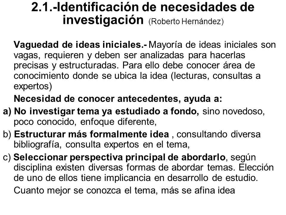 2.1.-Identificación de necesidades de investigación (Roberto Hernández)