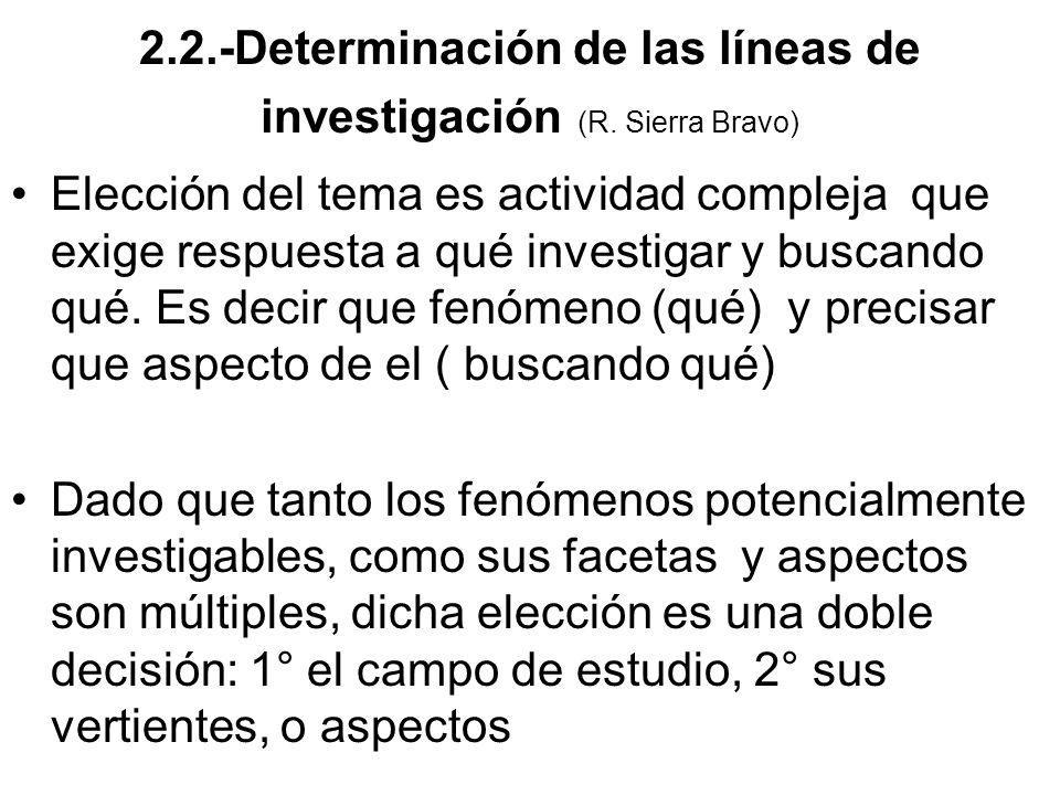 2.2.-Determinación de las líneas de investigación (R. Sierra Bravo)