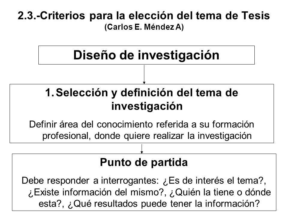 2.3.-Criterios para la elección del tema de Tesis (Carlos E. Méndez A)