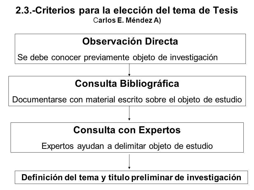 2.3.-Criterios para la elección del tema de Tesis Carlos E. Méndez A)