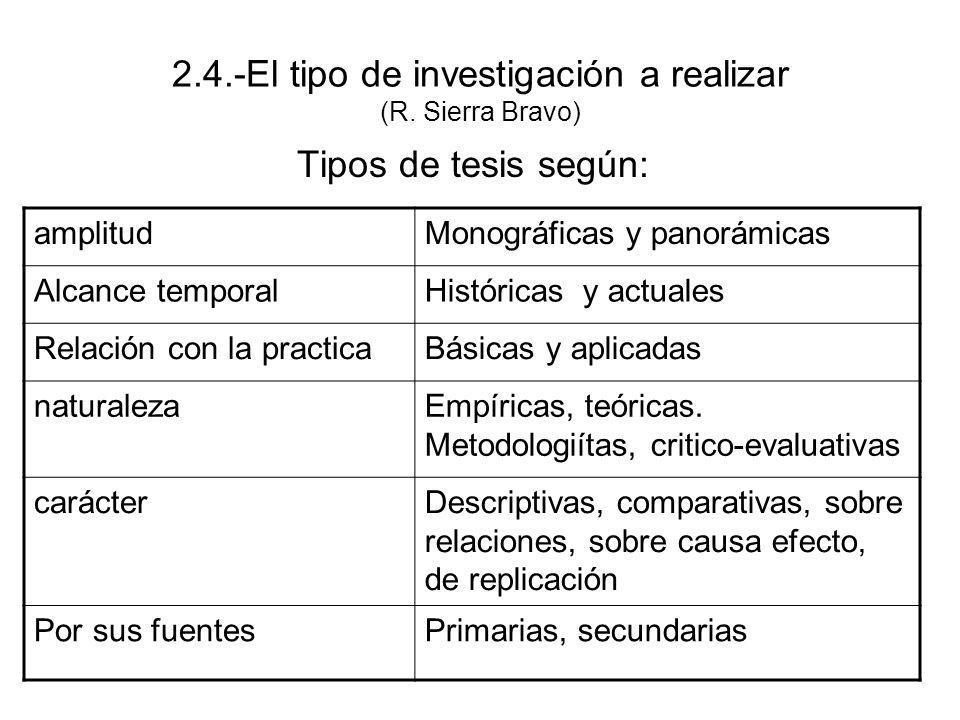 2.4.-El tipo de investigación a realizar (R. Sierra Bravo)