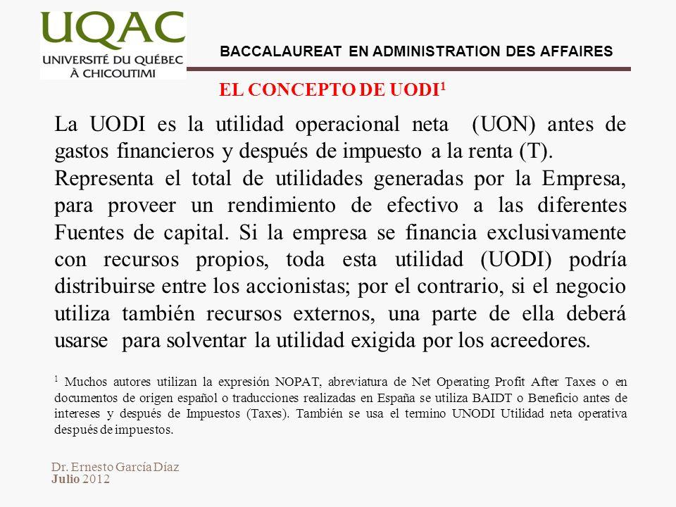 EL CONCEPTO DE UODI1 La UODI es la utilidad operacional neta (UON) antes de gastos financieros y después de impuesto a la renta (T).