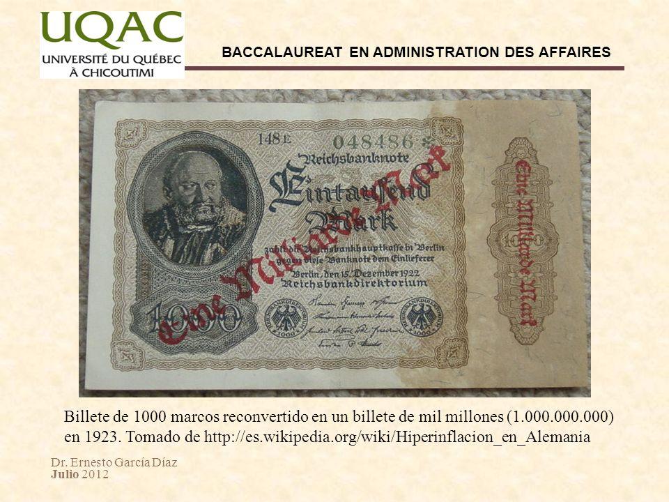 Billete de 1000 marcos reconvertido en un billete de mil millones (1