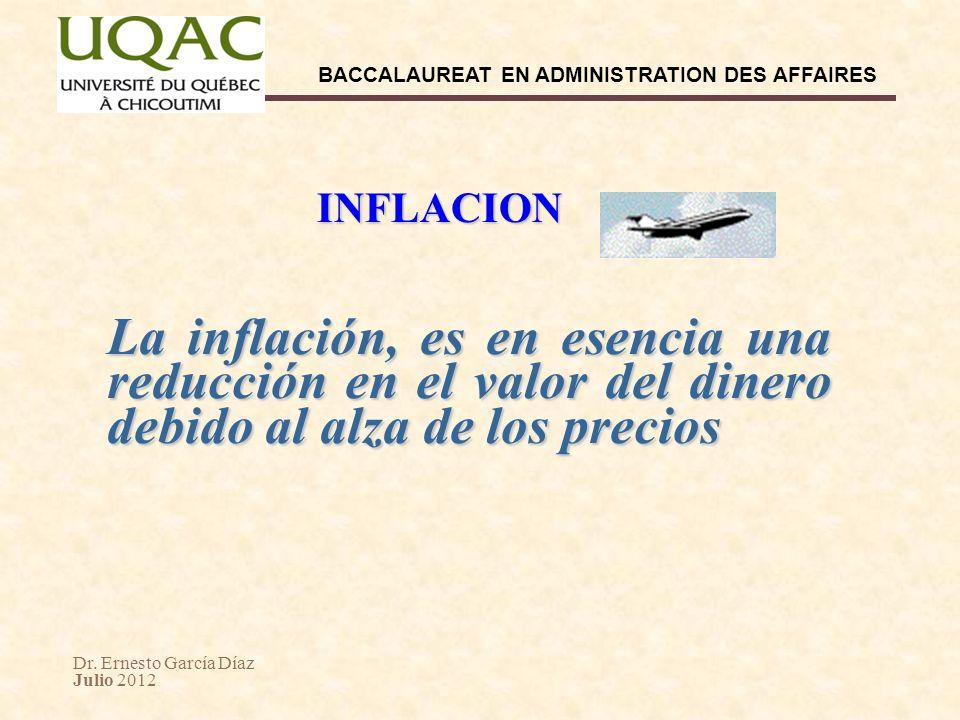 INFLACION La inflación, es en esencia una reducción en el valor del dinero debido al alza de los precios.