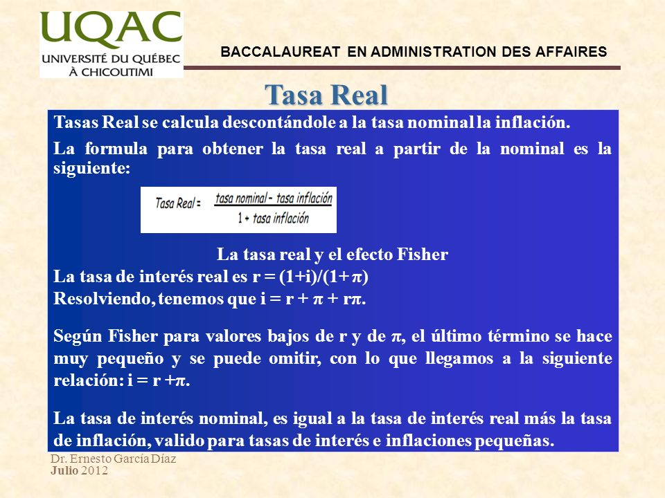 La tasa real y el efecto Fisher