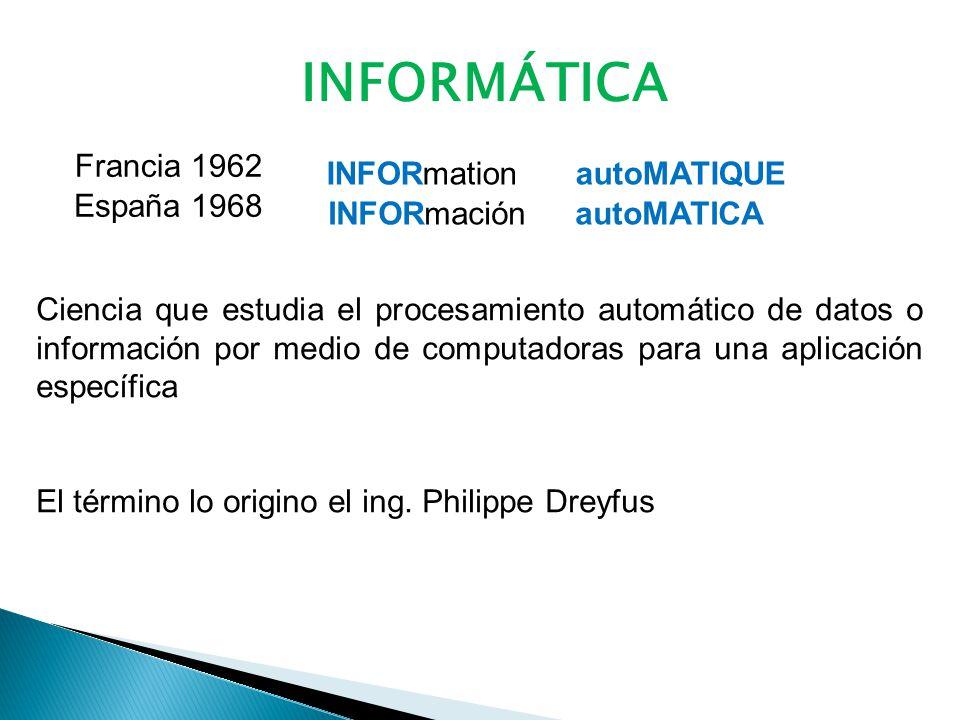 INFORMÁTICA Francia 1962 INFORmation autoMATIQUE España 1968