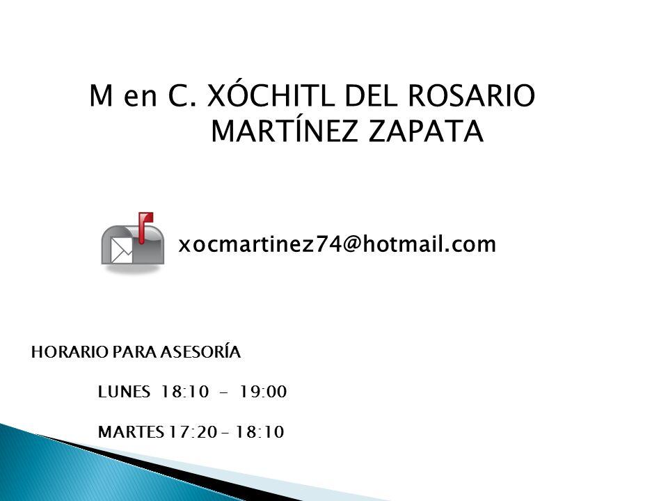 M en C. XÓCHITL DEL ROSARIO MARTÍNEZ ZAPATA
