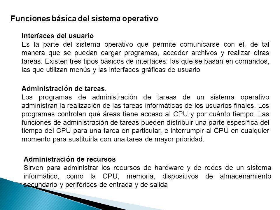 Funciones básica del sistema operativo