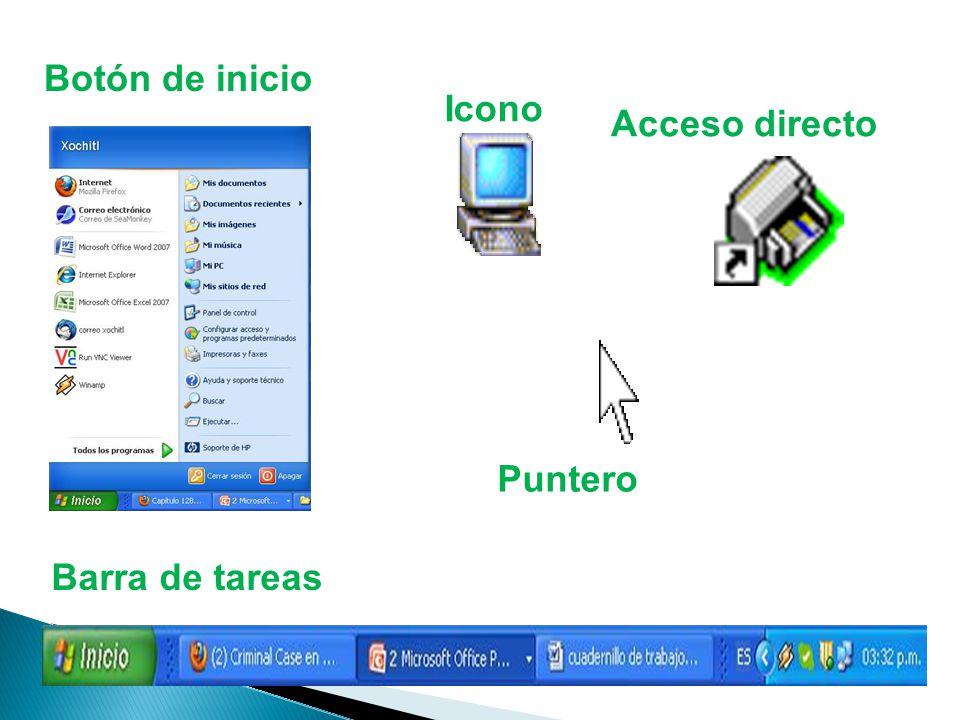 Botón de inicio Icono Acceso directo Puntero Barra de tareas