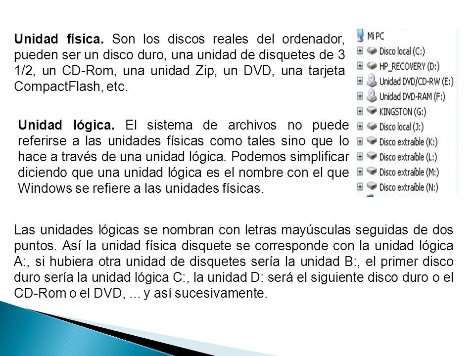 Unidad física. Son los discos reales del ordenador, pueden ser un disco duro, una unidad de disquetes de 3 1/2, un CD-Rom, una unidad Zip, un DVD, una tarjeta CompactFlash, etc.