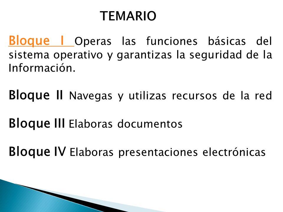 TEMARIO Bloque I Operas las funciones básicas del sistema operativo y garantizas la seguridad de la Información.