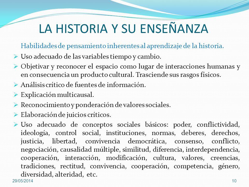 LA HISTORIA Y SU ENSEÑANZA