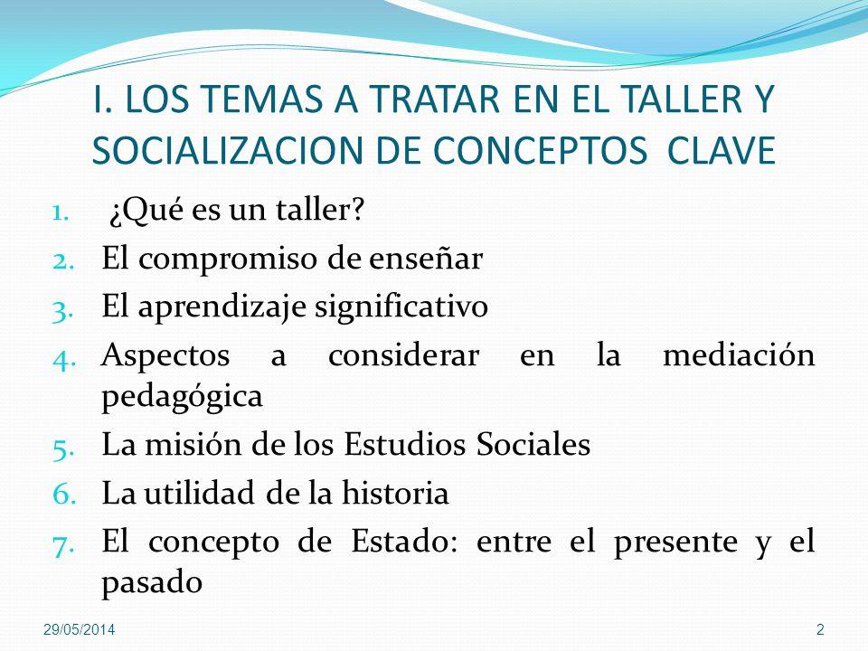 I. LOS TEMAS A TRATAR EN EL TALLER Y SOCIALIZACION DE CONCEPTOS CLAVE