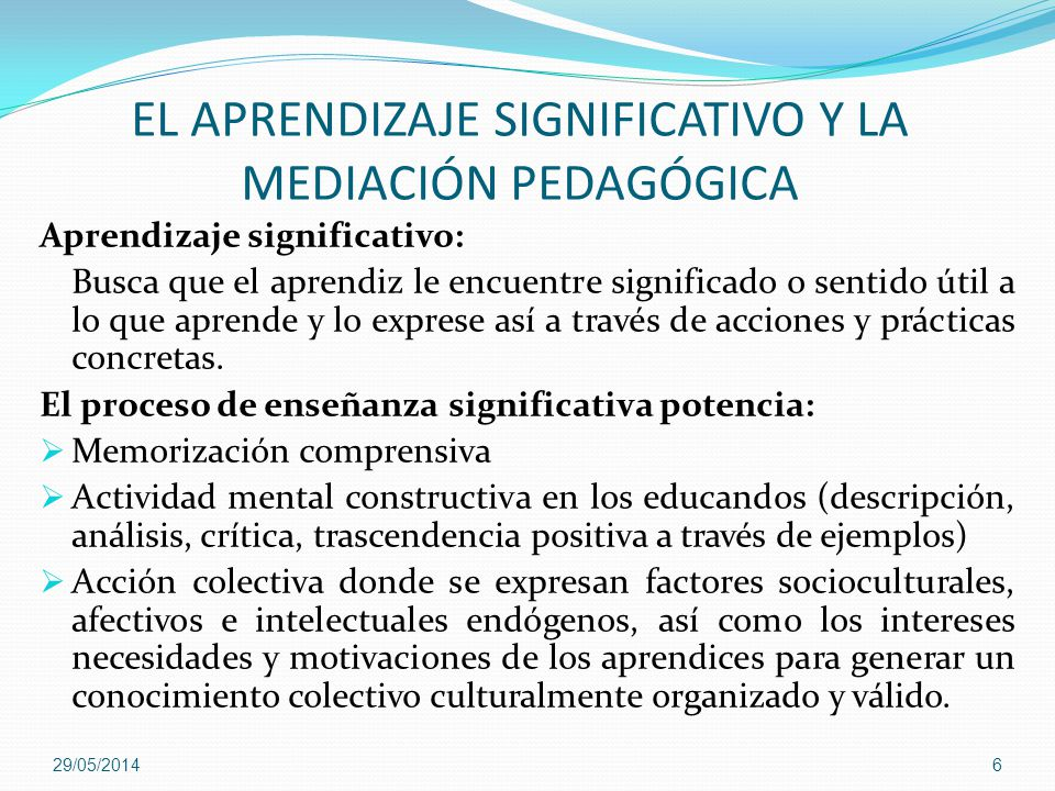 EL APRENDIZAJE SIGNIFICATIVO Y LA MEDIACIÓN PEDAGÓGICA