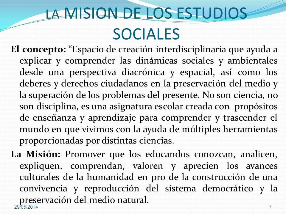 LA MISION DE LOS ESTUDIOS SOCIALES