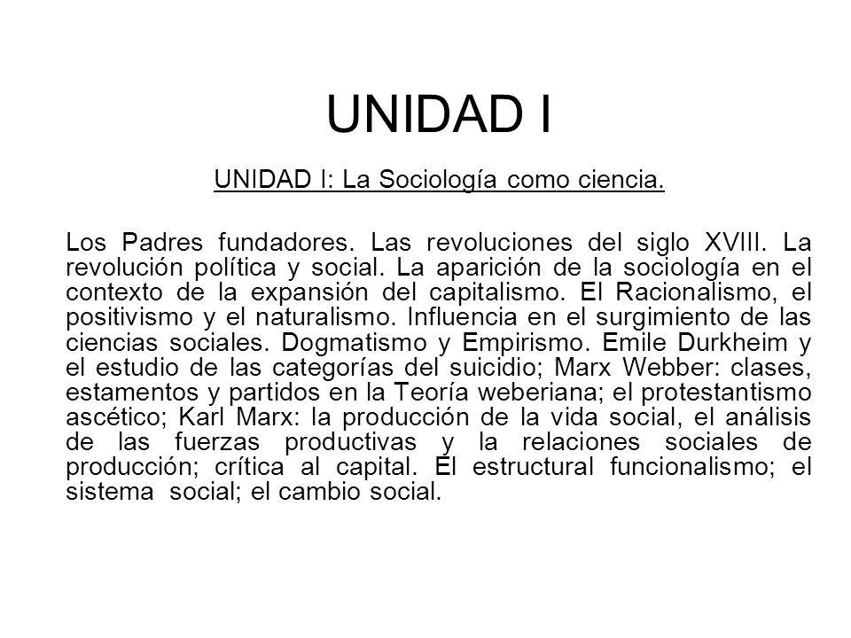 UNIDAD I: La Sociología como ciencia.