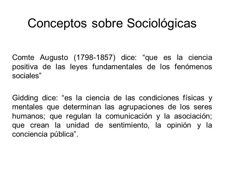 Conceptos sobre Sociológicas