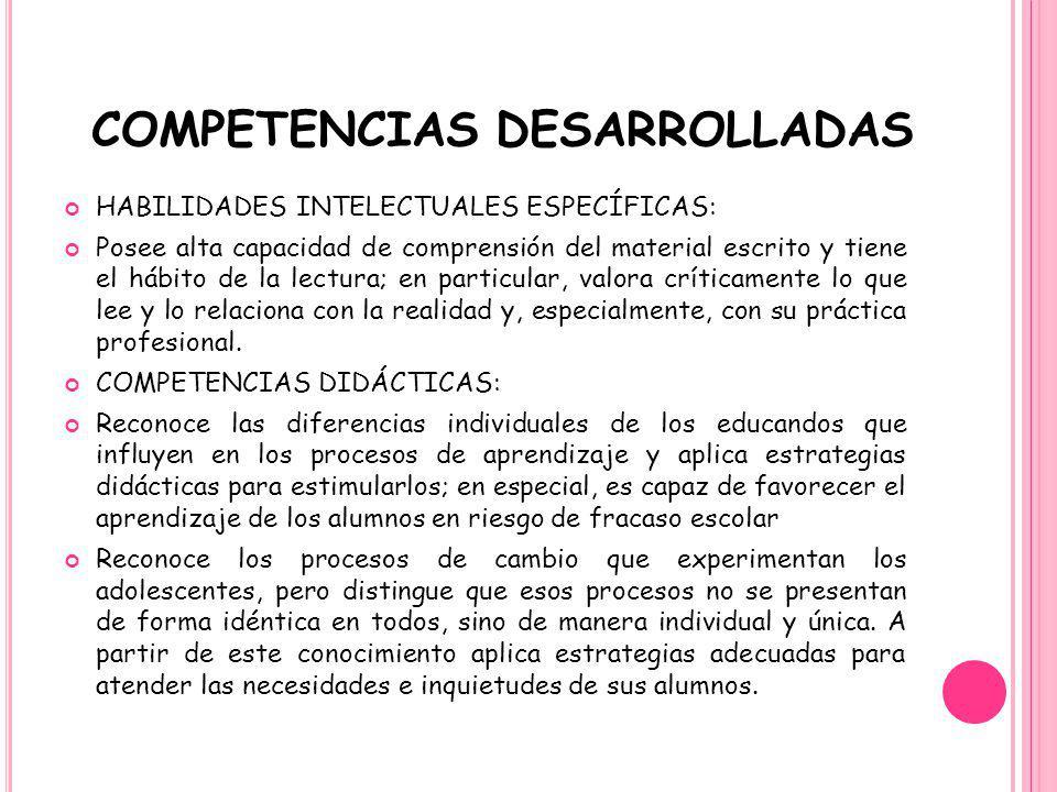 COMPETENCIAS DESARROLLADAS