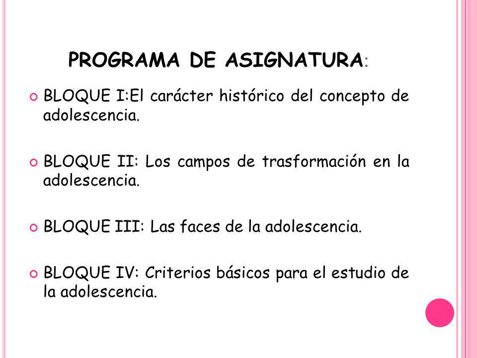 PROGRAMA DE ASIGNATURA: