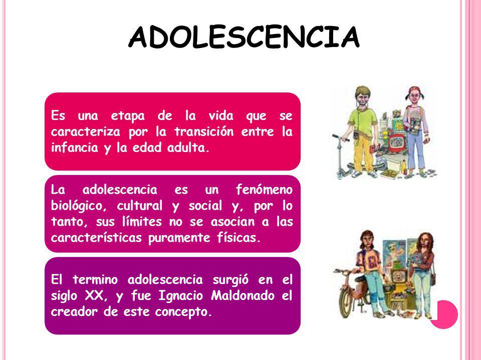 adolescencia Es una etapa de la vida que se caracteriza por la transición entre la infancia y la edad adulta.