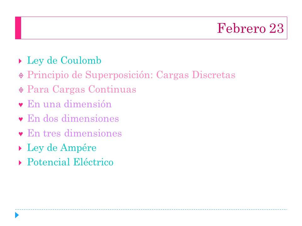 Febrero 23 Ley de Coulomb Principio de Superposición: Cargas Discretas