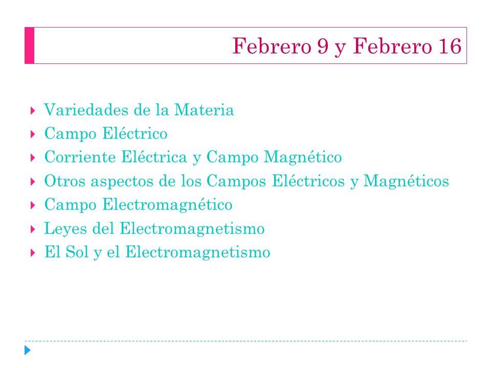 Febrero 9 y Febrero 16 Variedades de la Materia Campo Eléctrico