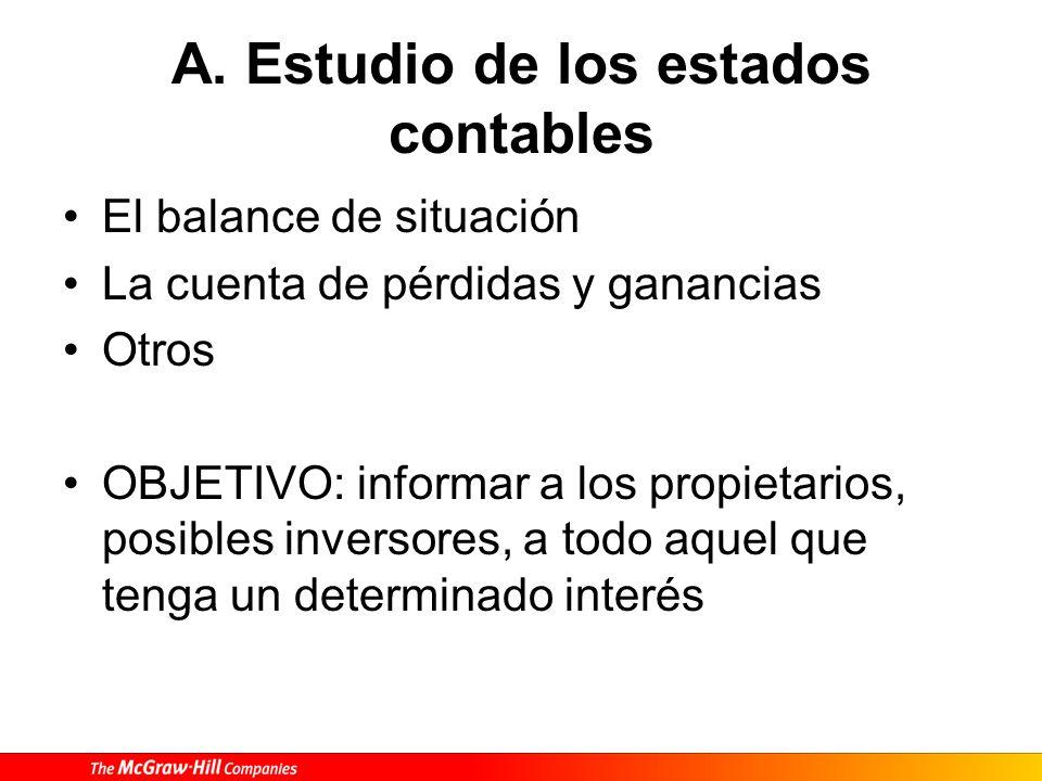 A. Estudio de los estados contables