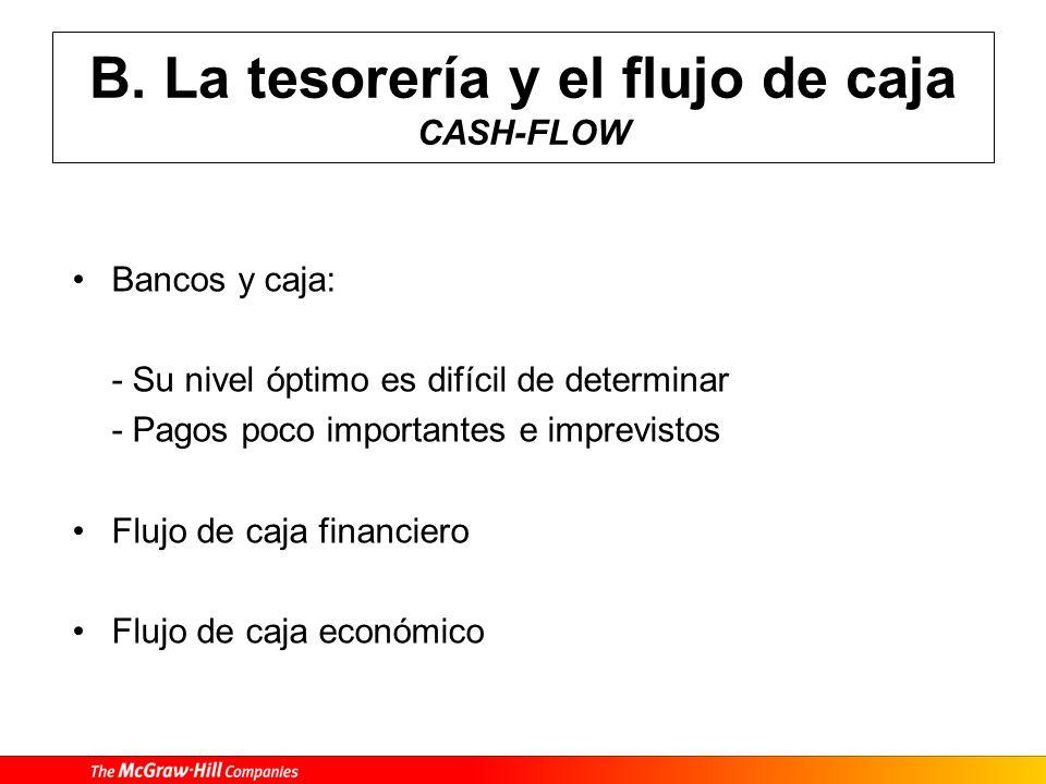 B. La tesorería y el flujo de caja CASH-FLOW
