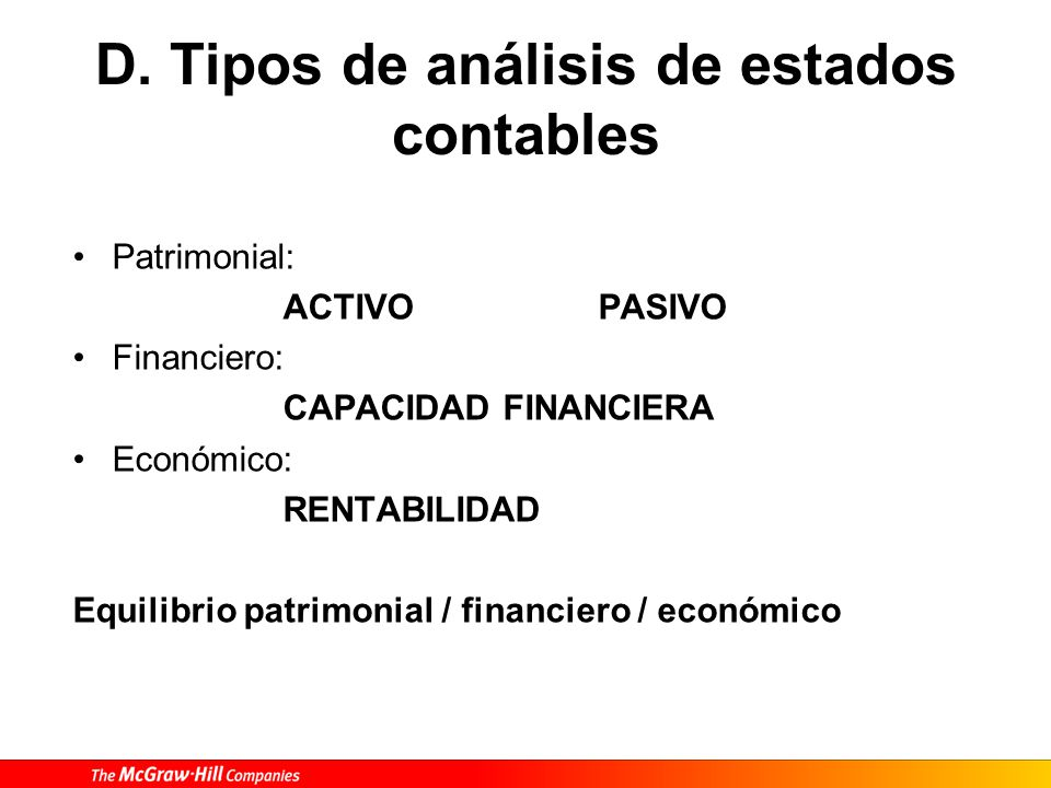 D. Tipos de análisis de estados contables