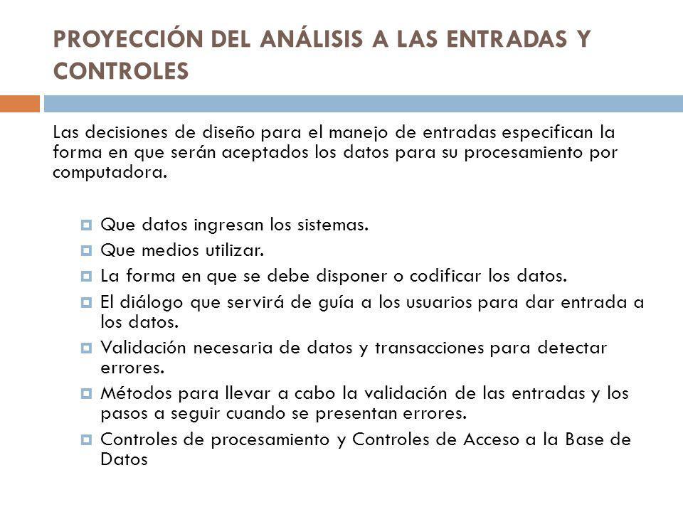 PROYECCIÓN DEL ANÁLISIS A LAS ENTRADAS Y CONTROLES