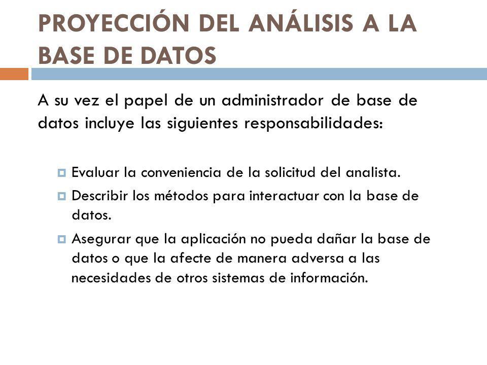 PROYECCIÓN DEL ANÁLISIS A LA BASE DE DATOS