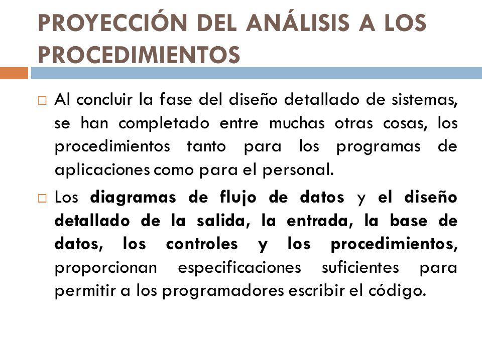 PROYECCIÓN DEL ANÁLISIS A LOS PROCEDIMIENTOS