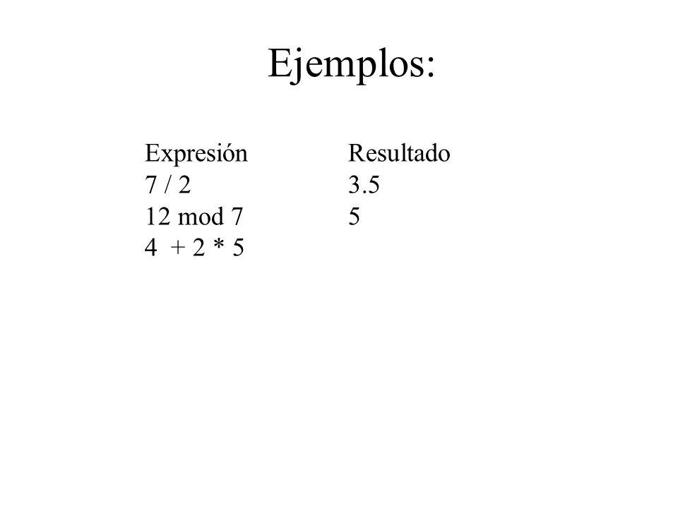 Ejemplos: Expresión Resultado 7 / 2 3.5 12 mod 7 5 4 + 2 * 5