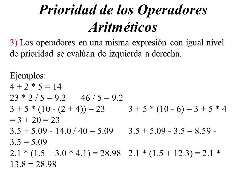 Prioridad de los Operadores Aritméticos
