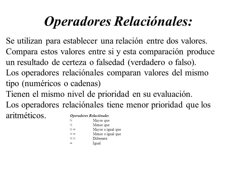 Operadores Relaciónales: