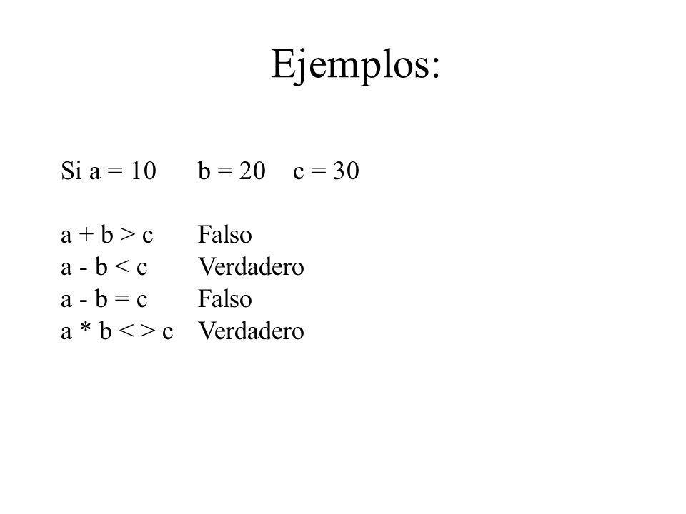 Ejemplos: Si a = 10 b = 20 c = 30 a + b > c Falso