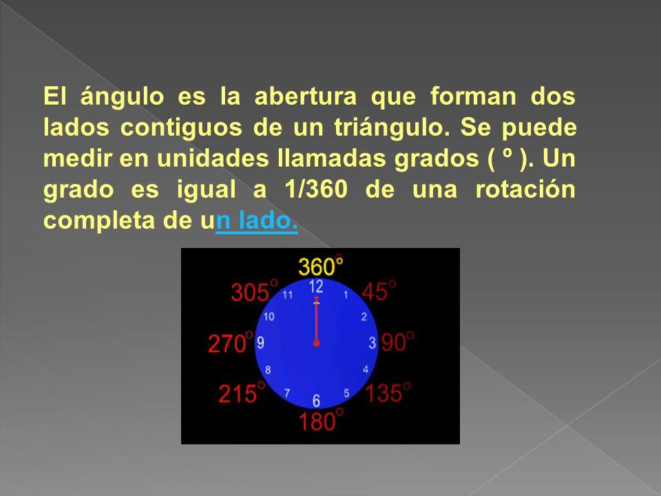 El ángulo es la abertura que forman dos lados contiguos de un triángulo. Se puede medir en unidades llamadas grados ( º ). Un grado es igual a 1/360 de una rotación completa de un lado.