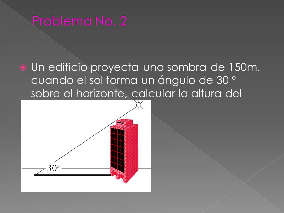 Problema No. 2 Un edificio proyecta una sombra de 150m.