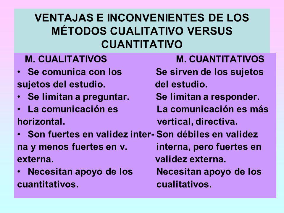 VENTAJAS E INCONVENIENTES DE LOS MÉTODOS CUALITATIVO VERSUS CUANTITATIVO