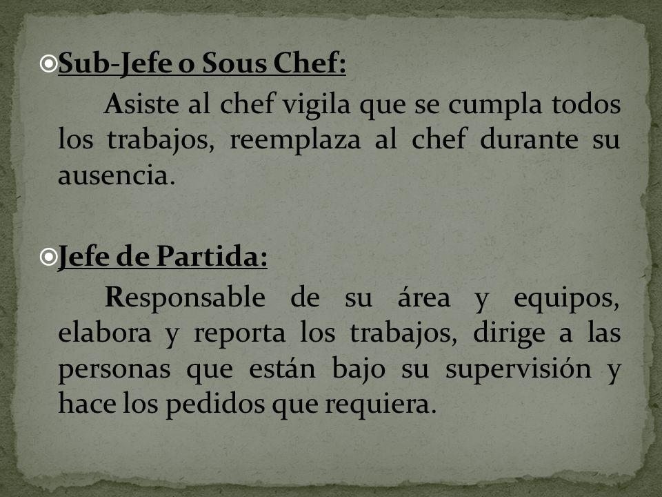 Sub-Jefe o Sous Chef: Asiste al chef vigila que se cumpla todos los trabajos, reemplaza al chef durante su ausencia.